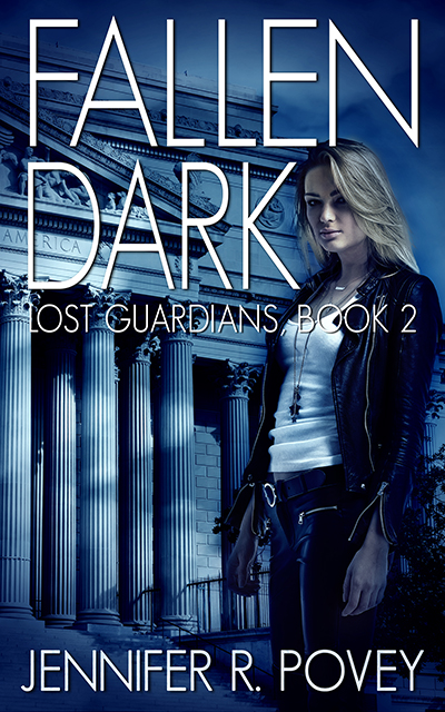 A book cover. The title is Fallen Dusk, the tagline is Lost Guardians Book 2, the author is Jennifer R. Povey. It shows a young blonde woman standing in front of a stately, classical building.