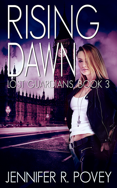 A book cover. The title is Rising Dawn, the subtitle is Lost Guardians, Book 3, the author is Jennifer R. Povey. It shows a young blonde woman standing in front of Big Ben.