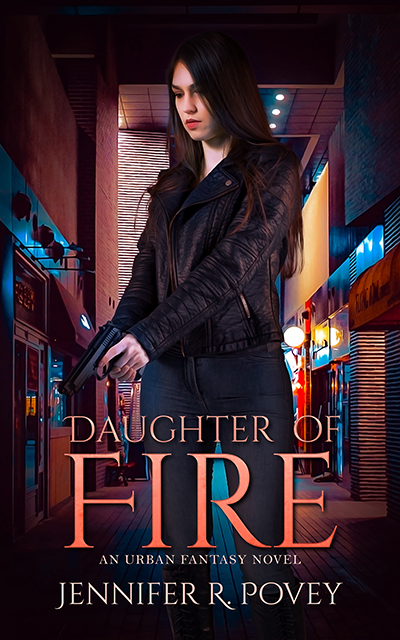 A book cover. It features a young woman with dark brown hair that is partially across her face. She is holding a pistol that is pointed towards the ground. Behind her there is a narrow street lined with store fronts.