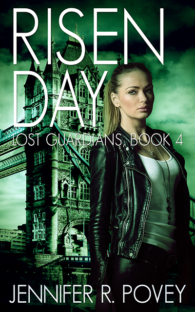 A book cover. The title is Risen Day, the subtitle is Lost Guardians, Book 4, and the author is Jennifer R. Povey. It shows a young blonde woman standing in front of Tower Bridge.